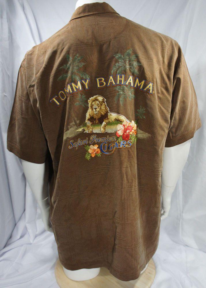 TOMMY BAHAMA Men's 100% Silk Brown Size XL Safari Premium Cigar Camp Lion Shirt #TommyBahama #Safari