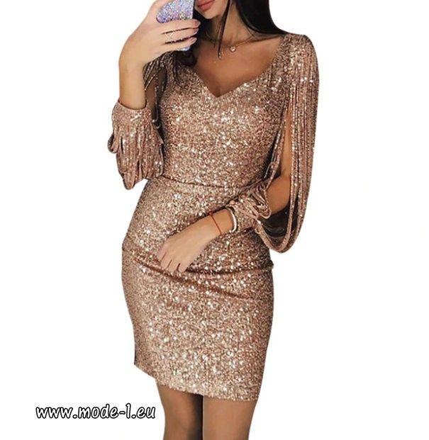 409860b28cd4 Sexy Pailletten V-Ausschnitt Bodycon Kleid 2019 in Glitzer Gold Sommer Mode