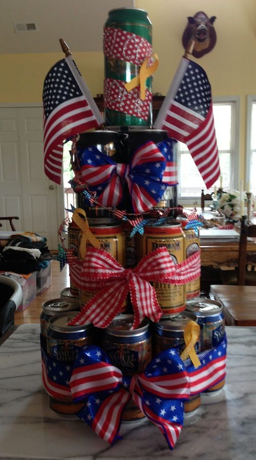 make a beer cake step-by-step for your soldier, sailor, or marine! perfect for a welcome home ceremony. great military craft to end deployme...: Deployment Homecoming, Deployment Welcome Homes, Beer Can Cakes, Cakes Step By Step, Deployment 2, Beer Cakes, Dear Deployment, Ceremony, Military Crafts