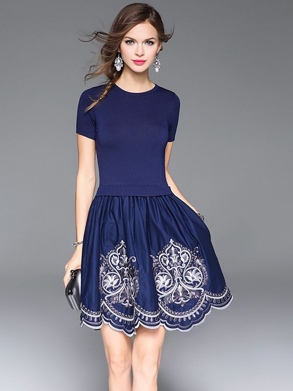 Sweet Blue and White Embroidered Midi Dress #Sweet #Blue_and_White #Midi_Dresses #Embroidered #Party_Dresses