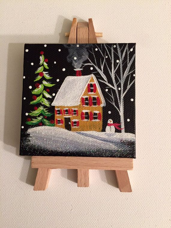 3x3 Mini Masterpiece Colonial Winter By EstellesPaintedTreas · Small  PaintingsCanvas PaintingsCanvas ArtMini CanvasSmall CanvasChristmas ...