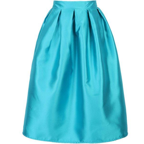 Blue High Waist Skater Midi Skirt ($38) ❤ liked on Polyvore featuring skirts, blue skirt, blue midi skirt, high-waist skirt, blue skater skirt and mid calf skirts