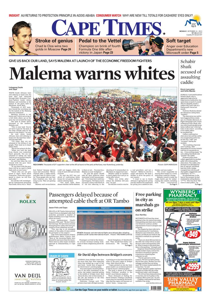 News making headlines: Malema warns whites