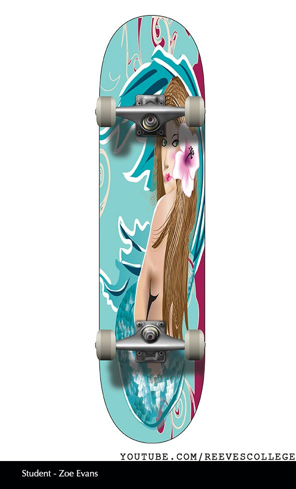 Skateboard Deck Design Adobe Illustrator CS6 by Reeves College Student Zoe E  #skateboard #clipart #design #art #skateboardart #skateboarddesign #skatedeck #deckart #deckdesign #graphicdesign Subscribe to Reeves College:  http://www.youtube.com/subscription_center?add_user=ReevesCollege