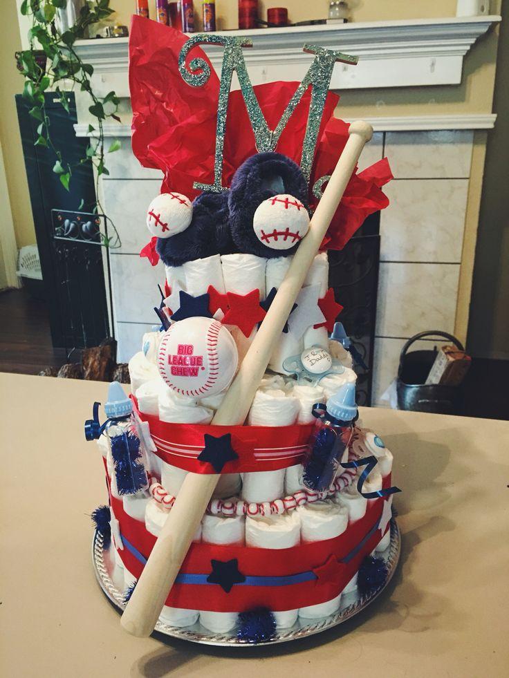 Diaper Cake for a baseball themed baby shower! #diapercake #baseball #babyshower #giftideas