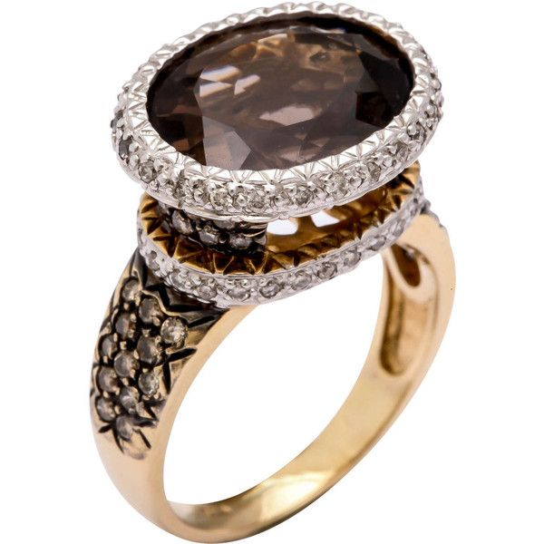 Pre-owned Great Smoky Topaz and Brown Diamond Ring ($2,250) ❤ liked on Polyvore featuring jewelry, rings, cocktail rings, chocolate diamond jewelry, preowned jewelry, chocolate diamond rings and sparkle jewelry