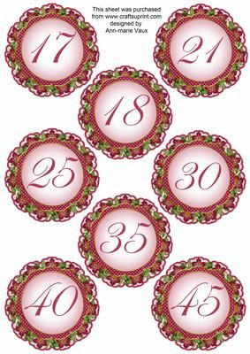 Hot Pink FMK Dotty Doily Numbers 17 to 45 Topper Sheet on Craftsuprint designed by Ann-marie Vaux - These number toppers will be the most useful of embellishments to anyone making cards or scrapbooking etc. Mix and match with other styles and embellishments that I make within the colour families. These are sized to match the double doily kits, or team them with something else. Other numbers are available in this design, simply look at the multi link. - Now available for download!