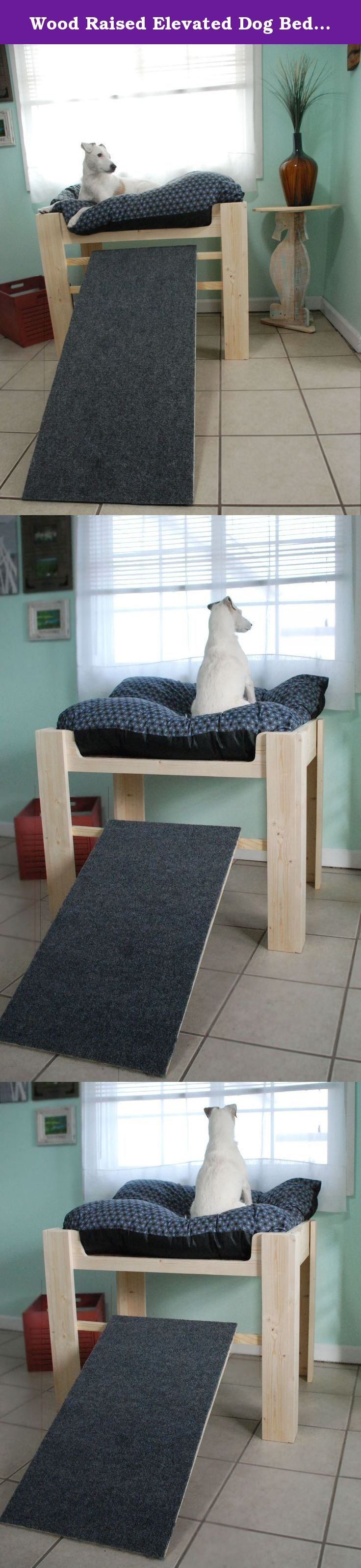 Wood Raised Elevated Dog Bed Furniture. Put Your Pet Next to You, with Ramp or Step. The idea for this bed came from our own personal needs. Our Jack Russell was taking up the bed for years. We would awaken every time he would move in and out of the covers. We weren't sure he would agree to sleeping alone (Jack Russell's can be stubborn) but he has slept in his bed beside ours since the very first night. We believe he actually enjoys having his own space. This is a variation of our…