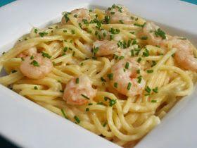 Espaguetis con puerro y gambas con thermomix, pasta con thermomix,