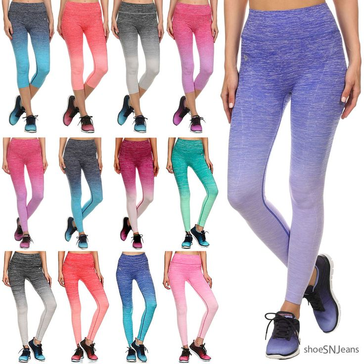 NEW Athletic Ombre Long & Capri Leggings Yoga Pants for Gym Fitness Workoout | Clothing, Shoes & Accessories, Women's Clothing, Athletic Apparel | eBay!