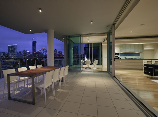 Extend your home onto the balcony with sliding doors.
