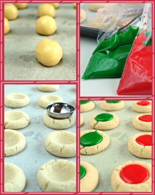 Christmas Thumbprint Cookies, can also do with jam / caramel / chocolate and nuts.  This site uses sugar cookie, traditional recipe http://www.landolakes.com/recipe/2063/holiday-thumbprint-cookies.  Can also drizzle, after cooled with dark and light chocolate