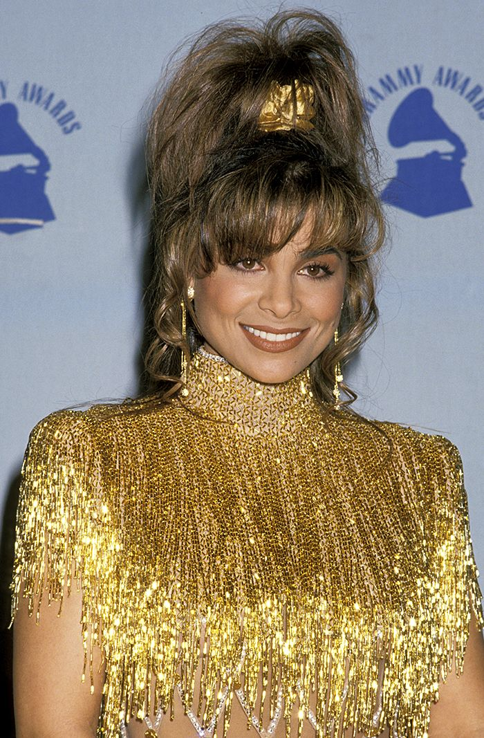 Paula Abdul with a high pony + gold scrunchie