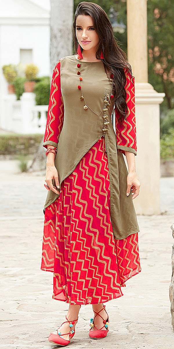Sizzling red and beige Georgette Kurti.