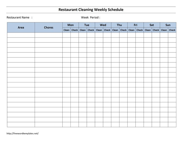 house chore schedule template