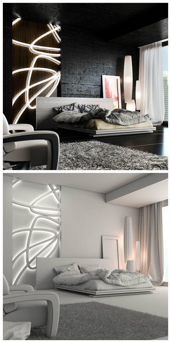 Нынешние способы освещения помещений мало отличаются от прежних. Основная разница заключается в уровне энергопотребления и дополнительных возможностях. Современное освещение спальни может быть оформлено с использованием светодиодов. Красивые инсталляции в виде абстрактных полос света сделают спальню не только оригинальной, но и достаточно светлой. Особенно удачно использование регуляторов уровня освещенности в подобных предметах интерьера. #светодиоды #подсветка #подсветкастен #спальня
