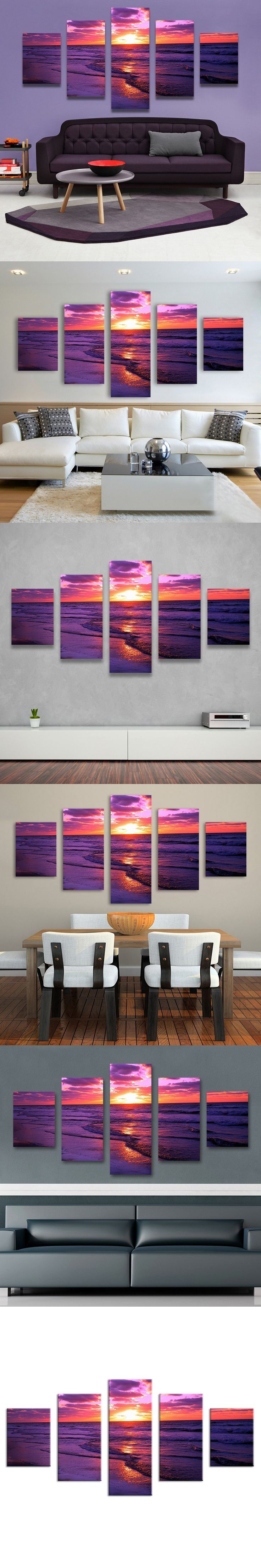 5 Panel red sunset canvas beach painting The Family Decorates Sea wave Print Oil Painting On Canvas,Wall Art Picture home decor $46.99