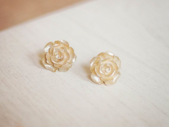 Gold Rose Earrings Rose Post Earrings Rose Stud by apocketofposies