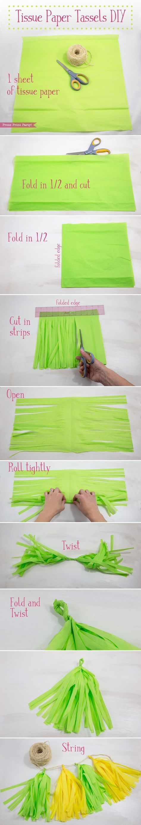 Learn how to make tissue paper tassels and garlands in any color to match your party theme. They're cheap, super festive, and easy for anyone to help make. How to Make Tissue Paper Tassels. Easy Tutorial by Press Print Party! http://www.pressprintparty.com/diy/party-decorations/tissue-paper-tassels-garlands/