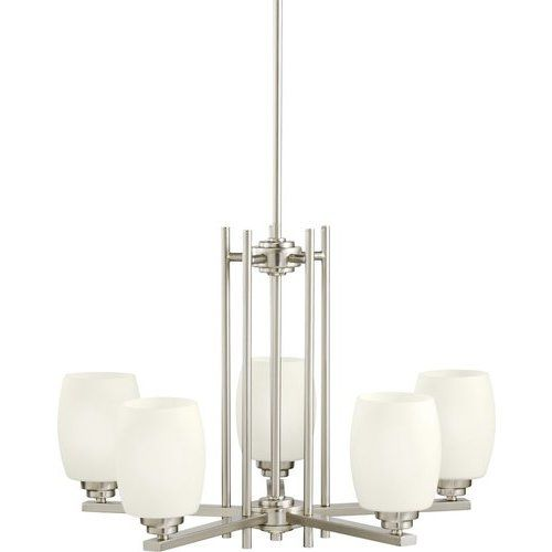 Kichler 16.5 Inch Eileen 5 Light Chandelier Satin Etched Opal 100W – Brushed Nickel 1896NI