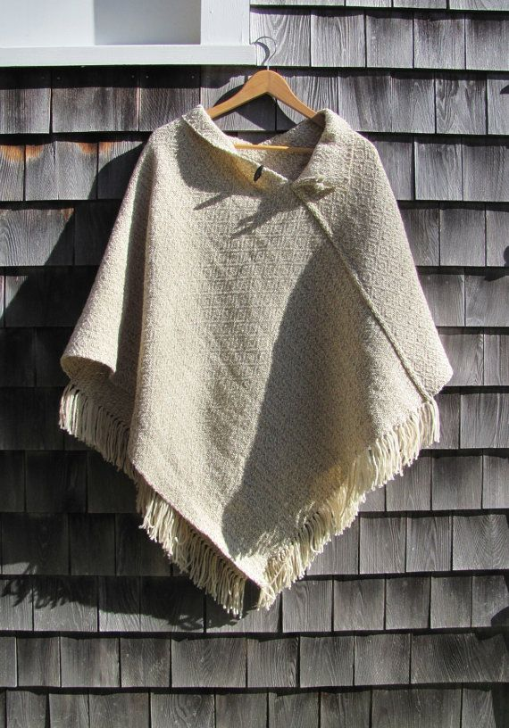 Rustic Natural Wool Poncho Handwoven Cape Cloak by aclhandweaver