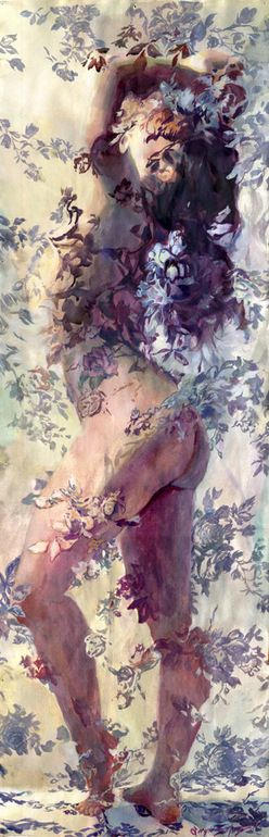 """Saatchi Art Artist: Sergio Lopez; Gouache Painting """"Della Reese""""... This is so gorgeous . It portraits the femininity of women through the flowers around the hidden body: hidden so women keeps its innocence, its delicacy,but showing enough to be edgy,daring: true way to represent modern women, in my opinion."""