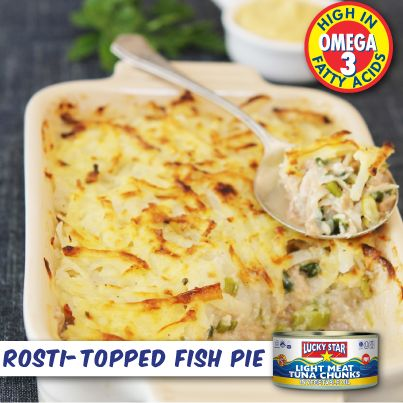 This Rosti-Topped Tuna Pie is delicious and easy - a fish pie anyone can make!  Get the recipe here: http://www.fooddesign.co.za/