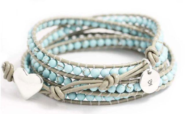 Weathered gray cord bracelet with turquoise beads, silver monogram charm and heart toggle closure