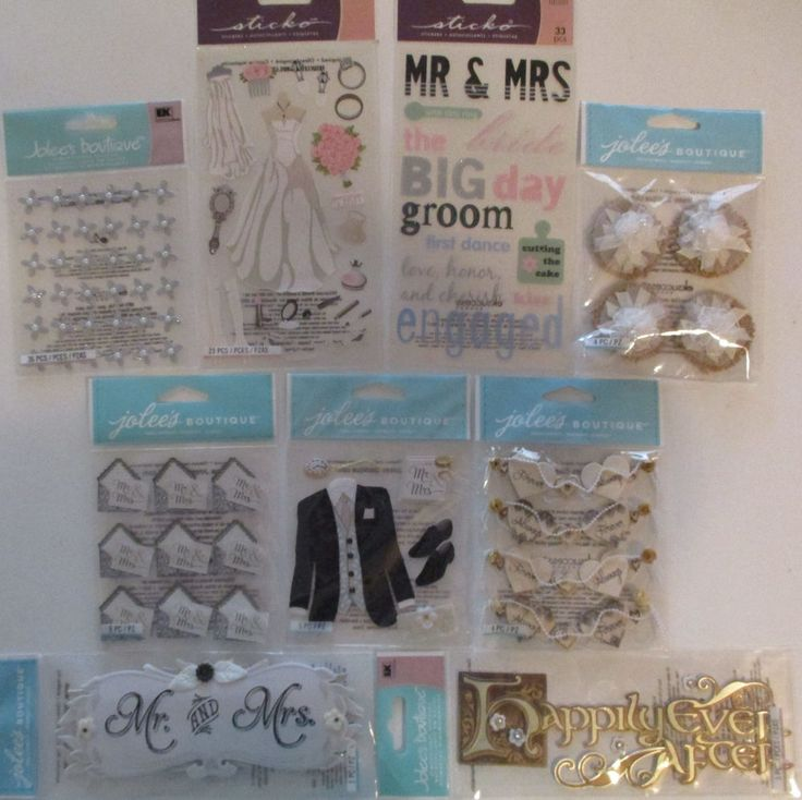 Jolee's Boutique & Sticko Scrapbooking Stickers Lot WEDDING Bride Tux Mr. & Mrs. #JoleesBoutique #ScrapbookEmbellishments