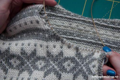Halsforming på kofte uten felling, søm og klipping - men med forkortede pinner (Strikkepiken) http://strikkepiken.blogg.no/1426867274_halsforming_p_kofte_u.html