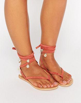 Замшевые сандалии на плоской подошве с завязками и монетами ASOS FREESIA