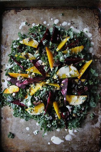 Kale, Beet and Bacon Salad with Goat Cheese Vinaigrette by Heather Christo, via Flickr: Beets Salad, Kale Salad, Cheese Vinaigrette, Bacon Salad, Salad Beets Goats Cheese, Bacon Goats Chee Salad, Golden Beets, Kale And Goats Chee Salad, Goats Chee Salad Dresses