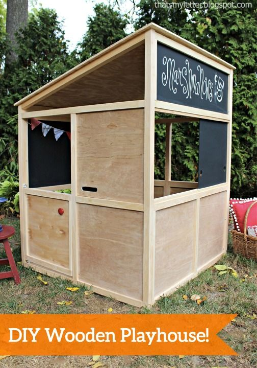33 best images about diy kids outdoor playhouse on for Simple outdoor playhouse plans