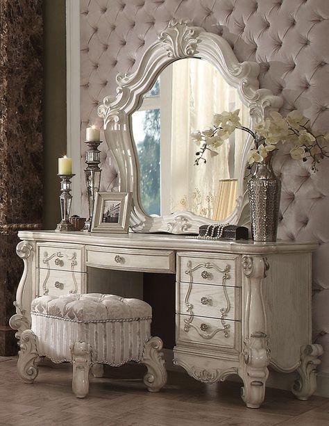 Acme 21137 Versailles 3Pcs Bone White Dresser Vanity Set Stool Mirror
