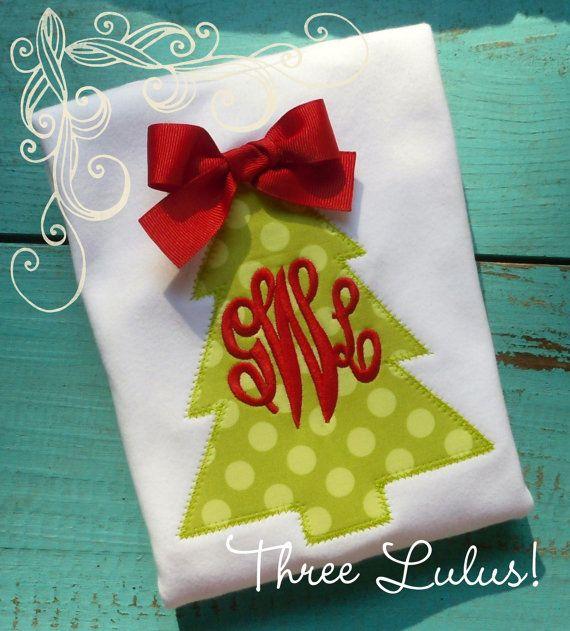 Christmas Shirt Girls Christmas Tree Shirt by threelulus on Etsy, $20.00