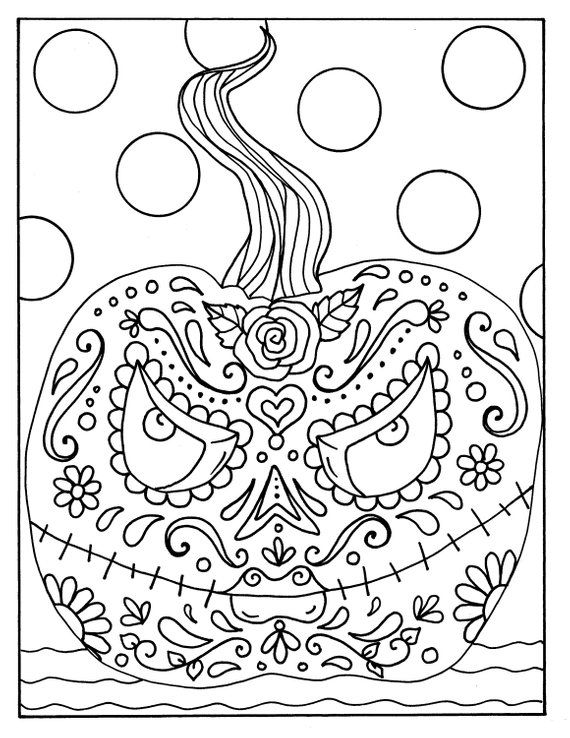Day Of The Dead Halloween Pumpkin Digital Coloring Page Adult