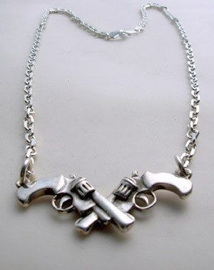 Sterling Silver Necklace Crossed Guns by LuladarkJewels on Etsy, $91.00