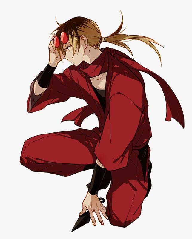anime guy wearing red long brown