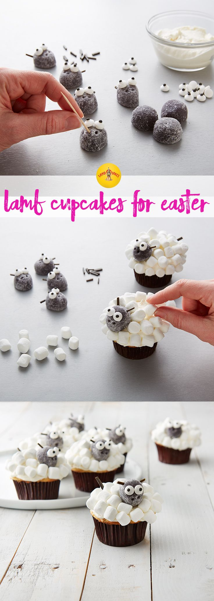 These cute Lamb Cupcakes are perfect recipe for your spring dessert tray.
