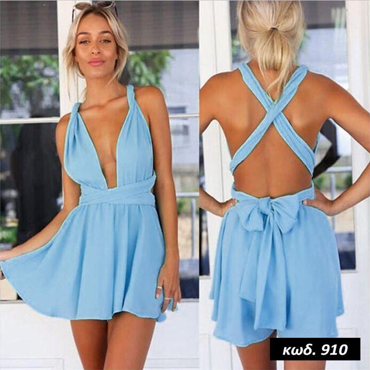 Κωδικός AD910, Υλικό Chiffon Cotton Blend, Χρώμα Γαλάζιο, Light Blue Color, Πολυμορφική Ολόσωμη Φόρμα, Multiformity Jumpsuit, Deep V-Neck, Backless Romper, Εξώπλατη, Βαθύ Ντεκολτέ, Short Overall, Sexy, One Size