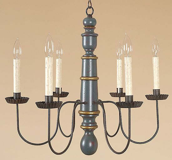Primitive Light Forge Chandelier Colonial Wood Country Style Lighting