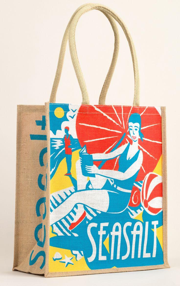 Beach Belle jute bag by Matt Johnson for Seasalt Cornwall https://www.seasaltcornwall.co.uk/all-accessories/womens-accessories/jute-bags/jute-shopping-bag_beach_belle.htm