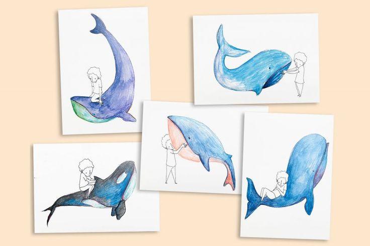 Cartes Baleine by Aloÿse https://shop.studio-adc.fr/produit/cartes-baleine-lot-de-5/