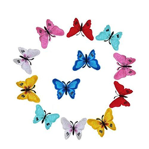 SUSHAFEN 12 Piece Crafts Butterfly Embroidery Applique Pa... amazon.com