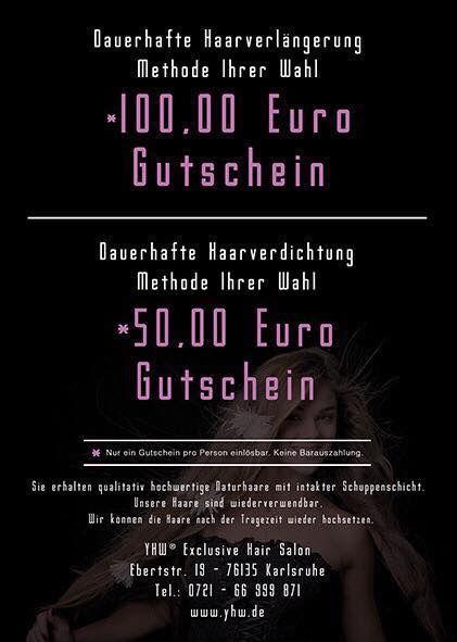#Haarverlängerung #Gutschein www.yhw.de  #HAARVERLÄNGERUNG - #KARLSRUHE - #HAARVERDICHTUNG - #MICRORING_METHODE- #WEAVING_METHODE- #GUMMI_FADEN_METHODE #TAPE_ON_METHODE  Diskretes Haarstudio in #Karlsruhe Europäisches Echthaar in jeder Farbe, länge und Haarstruktur Ohne Schweißen oder Hitzeeinwirkung! Exklusiv: Die schonende Haarverlängerung Methoden für dauerhaften Halt Haarverdichtung auf die schonende Art Unsichtbare Einarbeitung von europäischem Echthaar, lange haltbar, wiederverwendbar