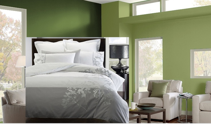 Green Walls With Grey Bedding I Like It A Lot Silver Grey Tree Silhouette Would Go On A Dark