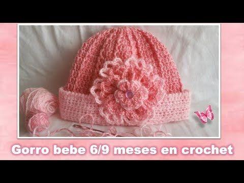 GORRO PARA BEBE DE 6 9 MESES en crochet PASO A PASO - YouTube ... ee52c4abc78
