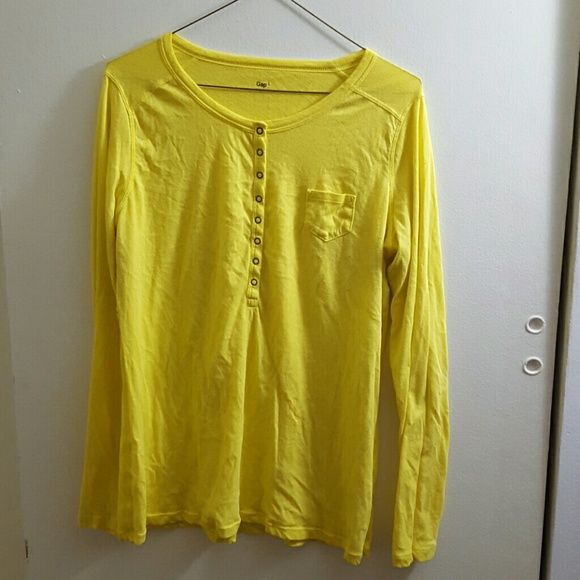 Yellow long sleeve top Bright yellow light long sleeve top, with metal buttons on the front GAP Tops
