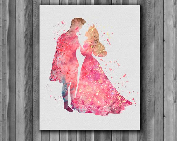 Princess Aurora and Prince Philip disney, Sleeping Beauty - Art Print, instant download, Watercolor Print, poster
