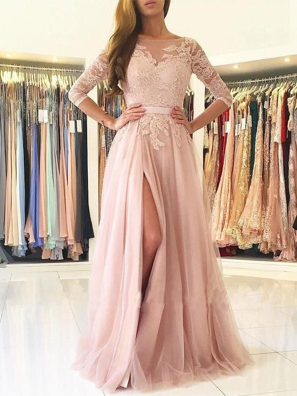 A-line Illusion Neck Lace and Tulle Skirt 3/4 Sleeves Long Prom Dresses DPB130 17